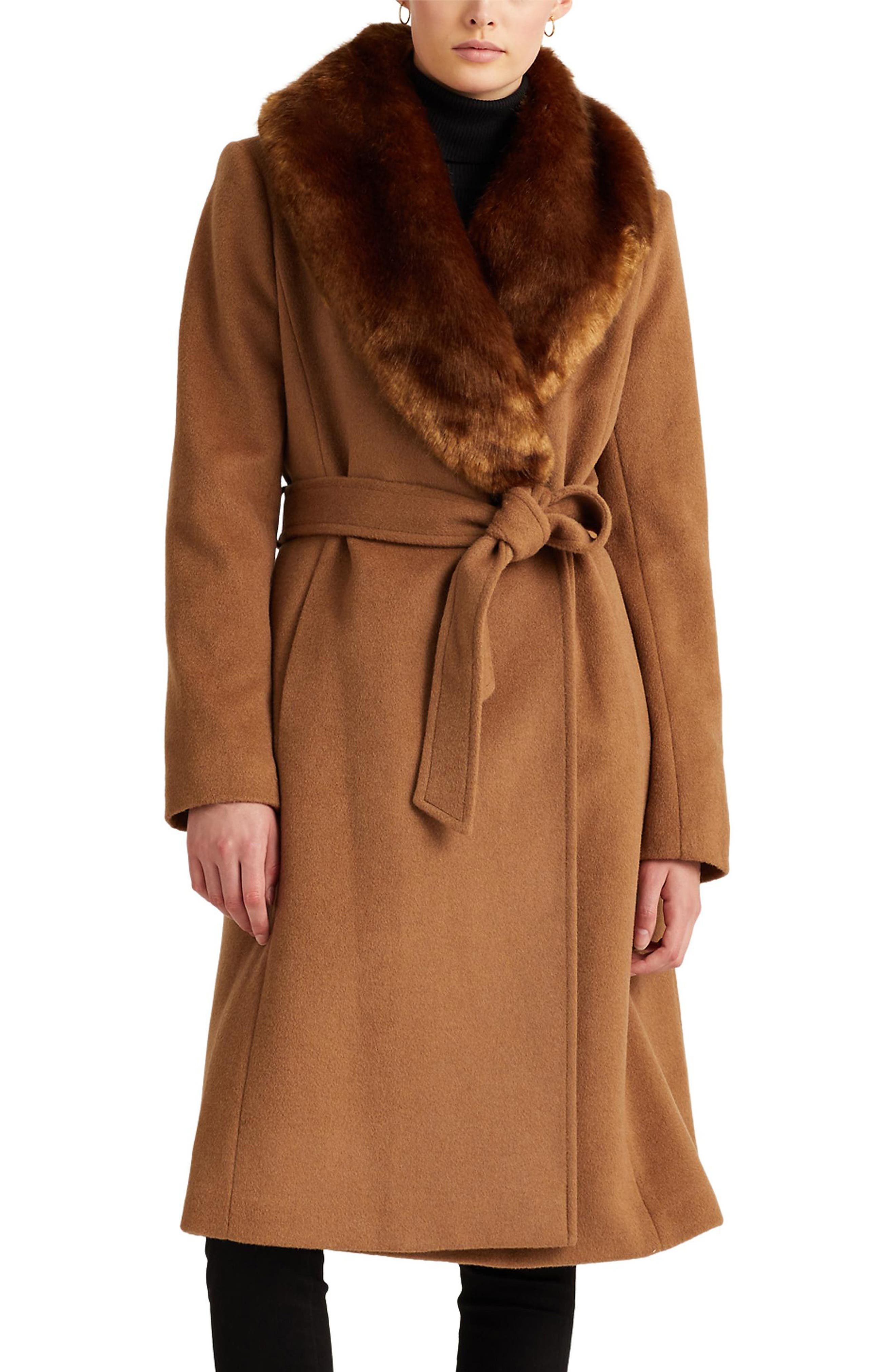 1930s Style Clothing and Fashion Womens Lauren Ralph Lauren Wool Blend Belted Wrap Coat With Faux Fur Collar $179.92 AT vintagedancer.com