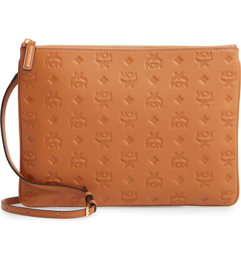 MCM Klara Monogram Calfskin Leather Crossbody Pouch, Main, color, COGNAC