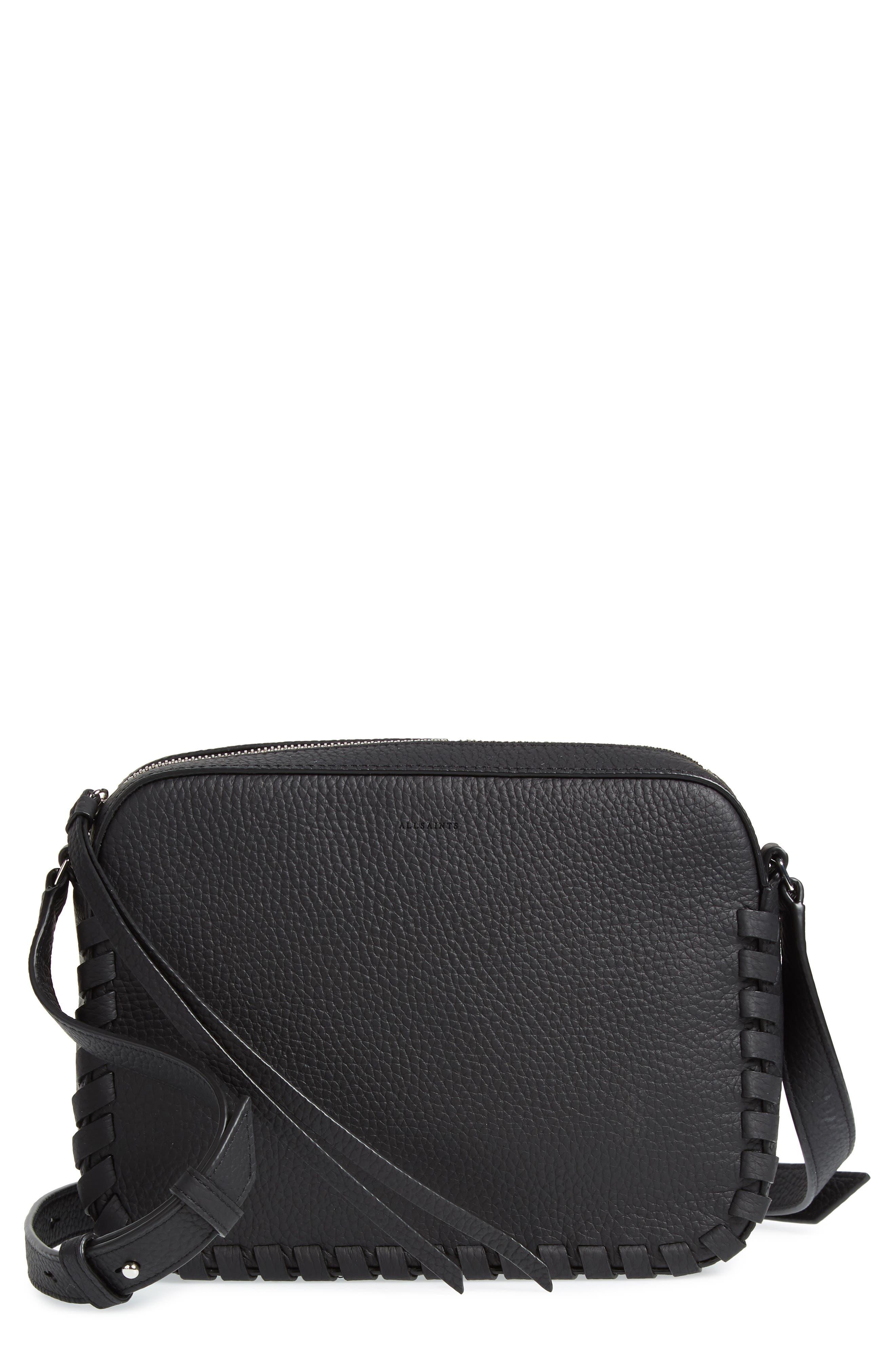 Kepi Mini Leather Crossbody Bag, Main, color, BLACK