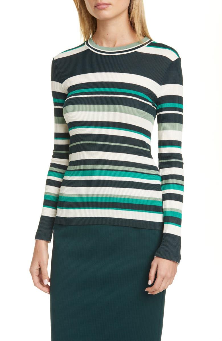 BOSS Elauren Stripe Long Sleeve Top, Main, color, PINE FANTASY