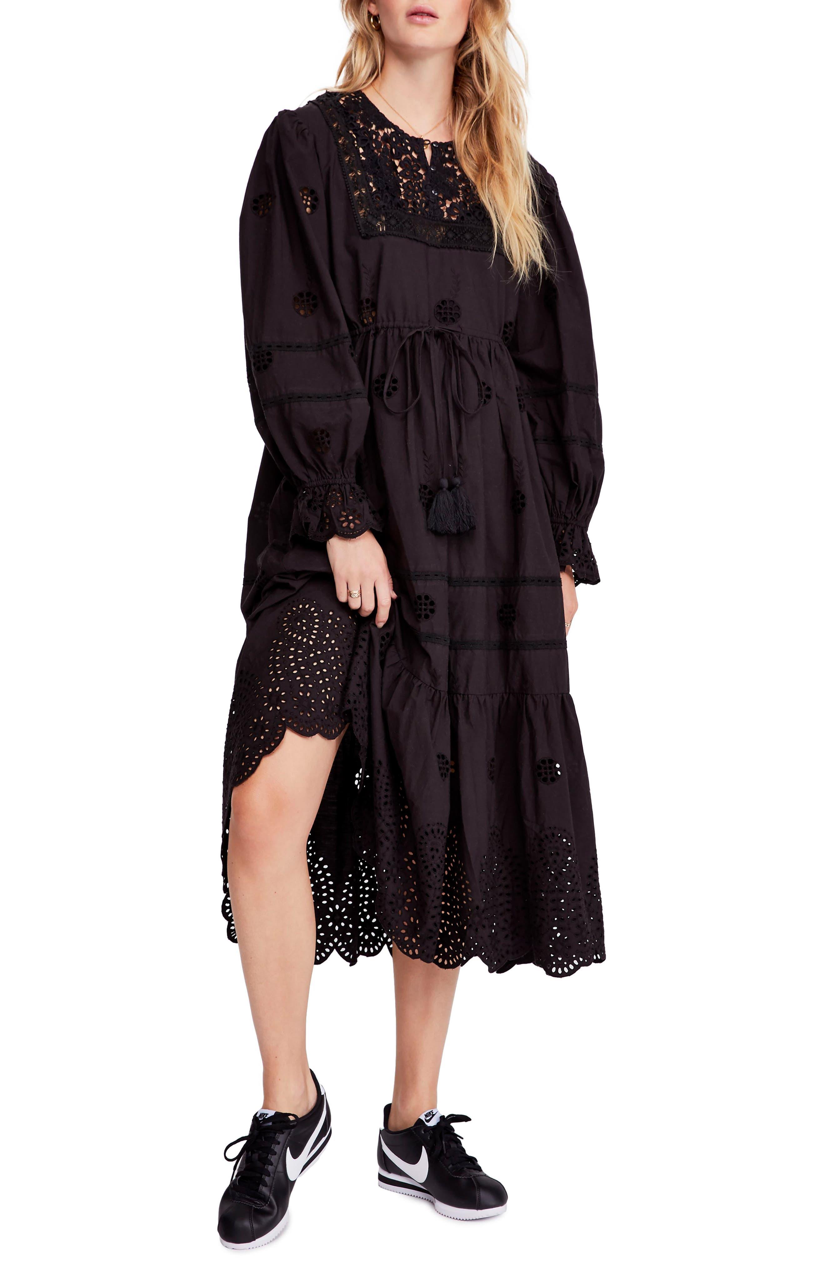 Free People Lavender Midi Dress, Black