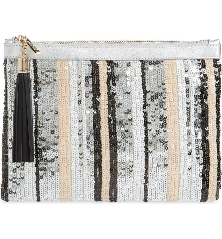 MALI + LILI Sequin Stripe Clutch, Main, color, MULTI