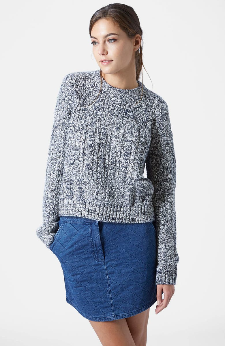 TOPSHOP Cable Slouchy Sweater, Main, color, 020