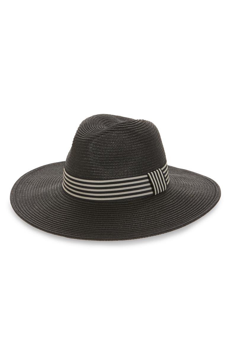 SOLE SOCIETY Stripe Band Straw Panama Hat, Main, color, 001