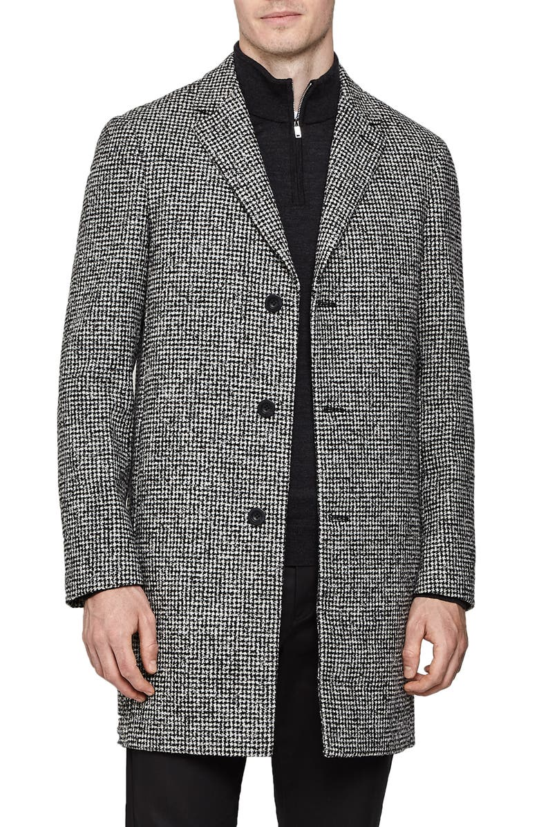 REISS Kennard Regular Fit Houndstooth Overcoat, Main, color, 030