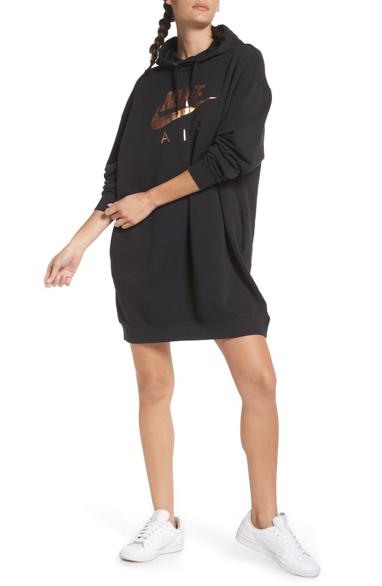 NIKE NSW Air Hooded Sweatshirt Dress, Main, color, 010