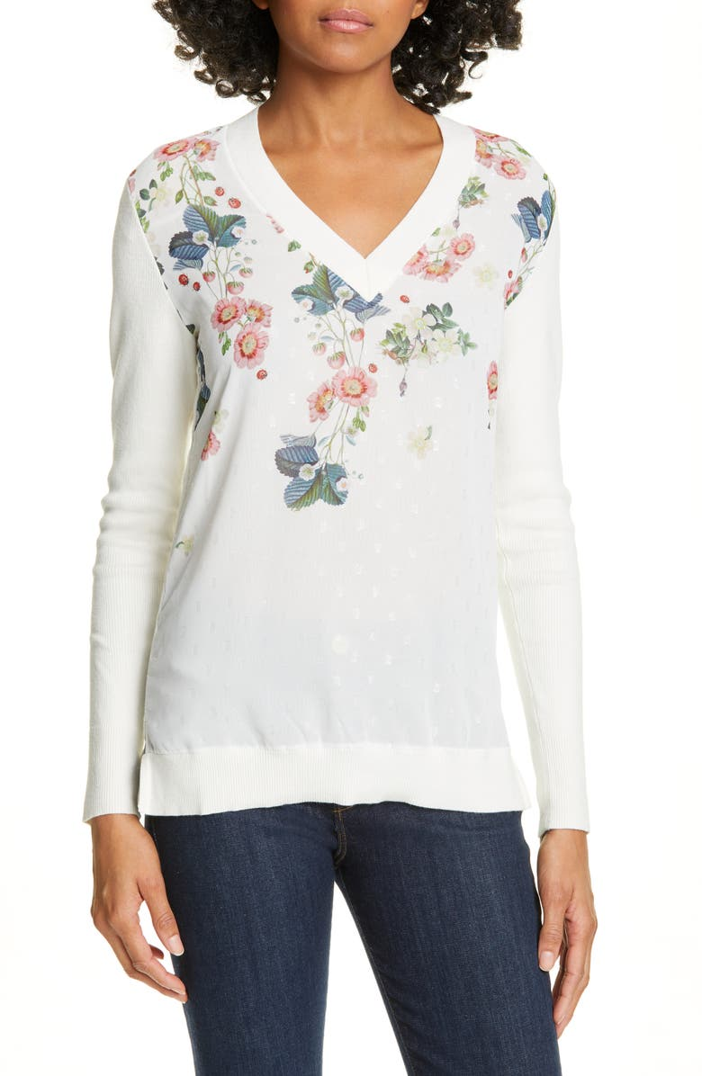 TED BAKER LONDON Casanda Orcle Sweater, Main, color, WHITE