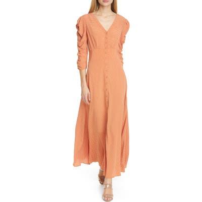 Bytimo Ruched Polka Dot Crepe Maxi Dress, Brown