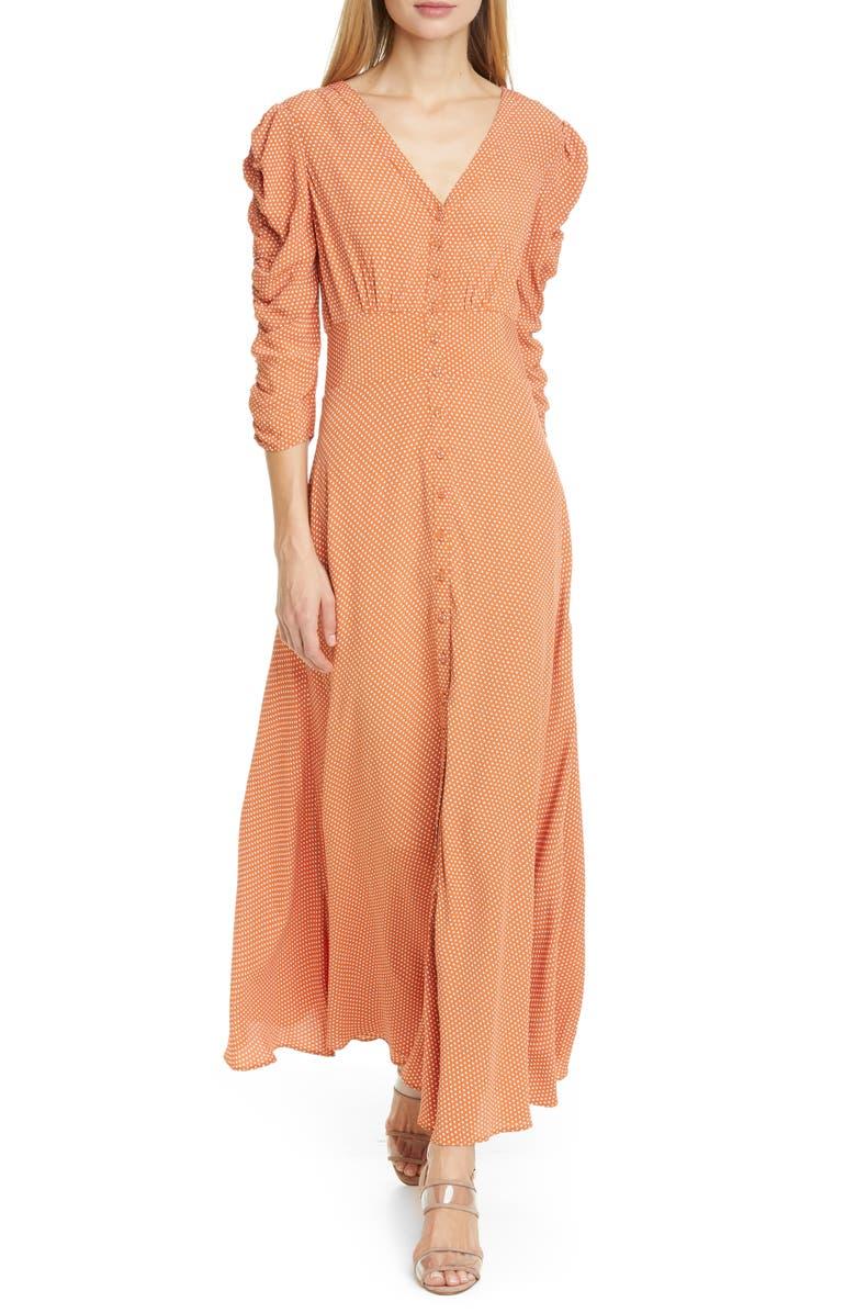 BYTIMO Ruched Polka Dot Crepe Maxi Dress, Main, color, 1038 - POLKA DOTS
