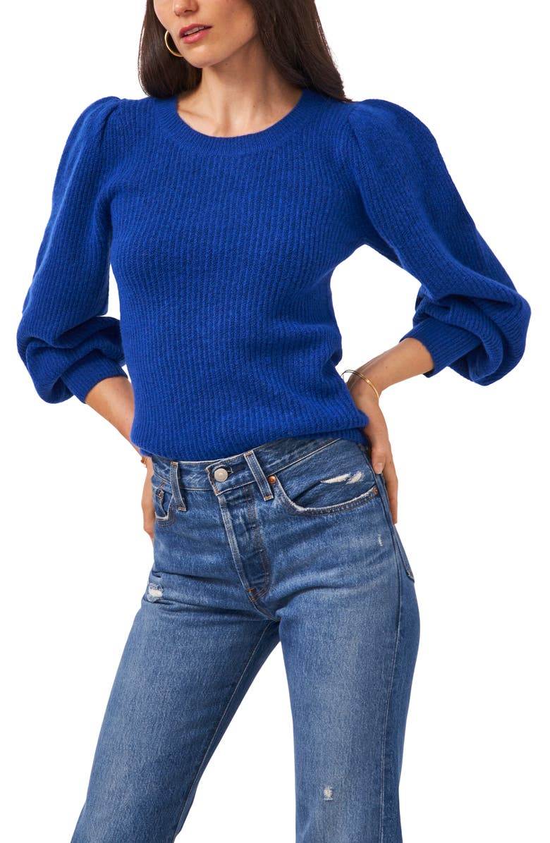 1.STATE Balloon Sleeve Sweater, Main, color, SEA BLUE