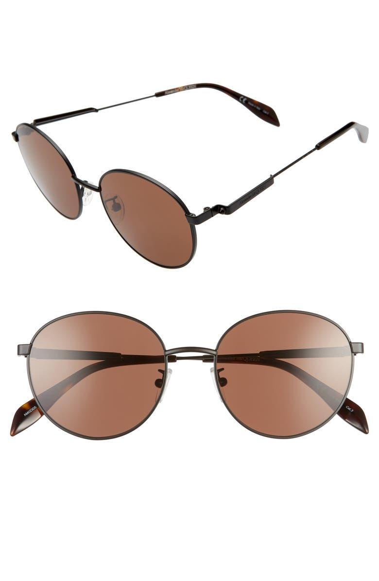 ALEXANDER MCQUEEN 54mm Round Sunglasses, Main, color, BLACK