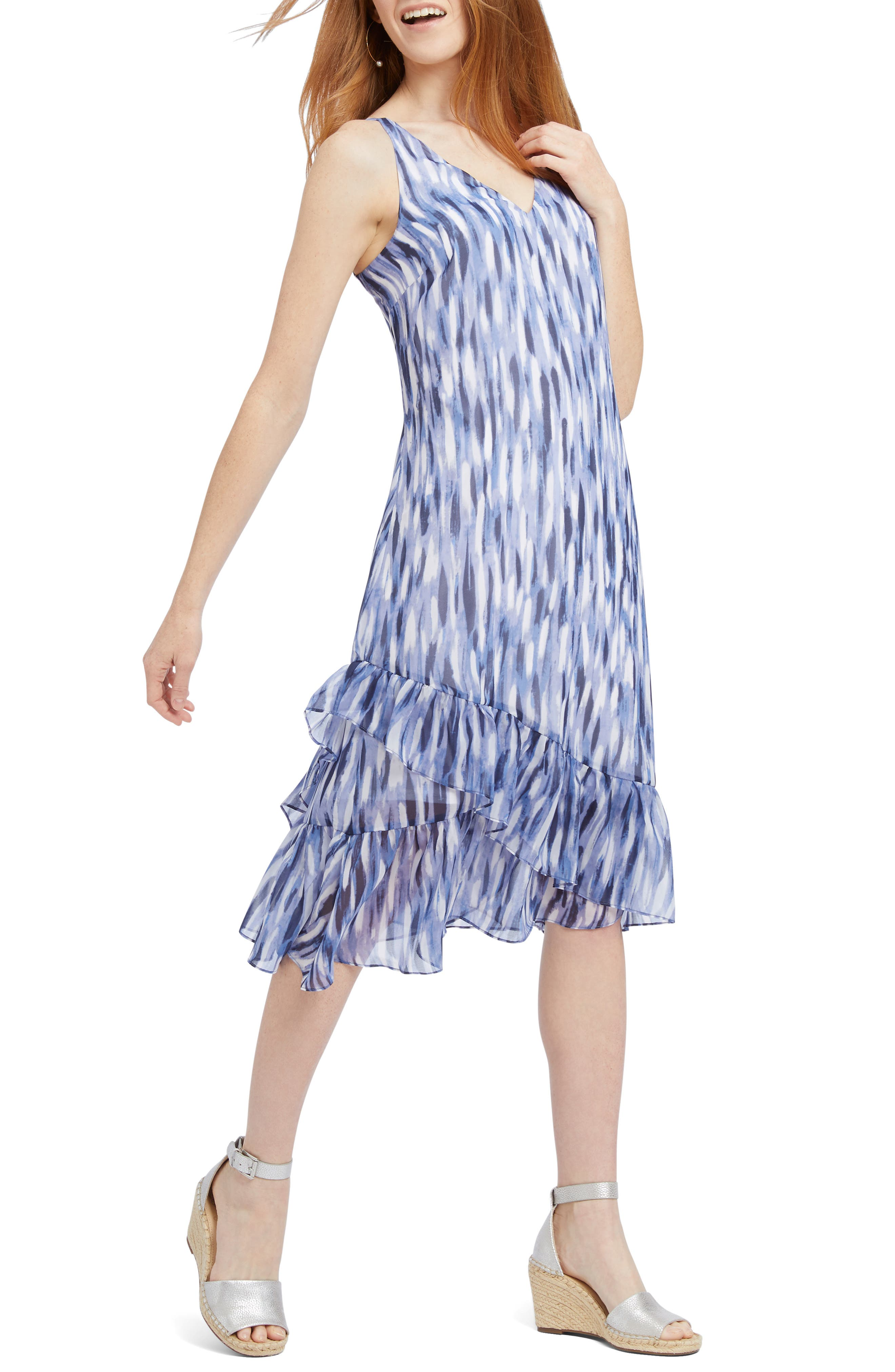 Petite Nic+Zoe Falling Petals Sleeveless Dress, Blue