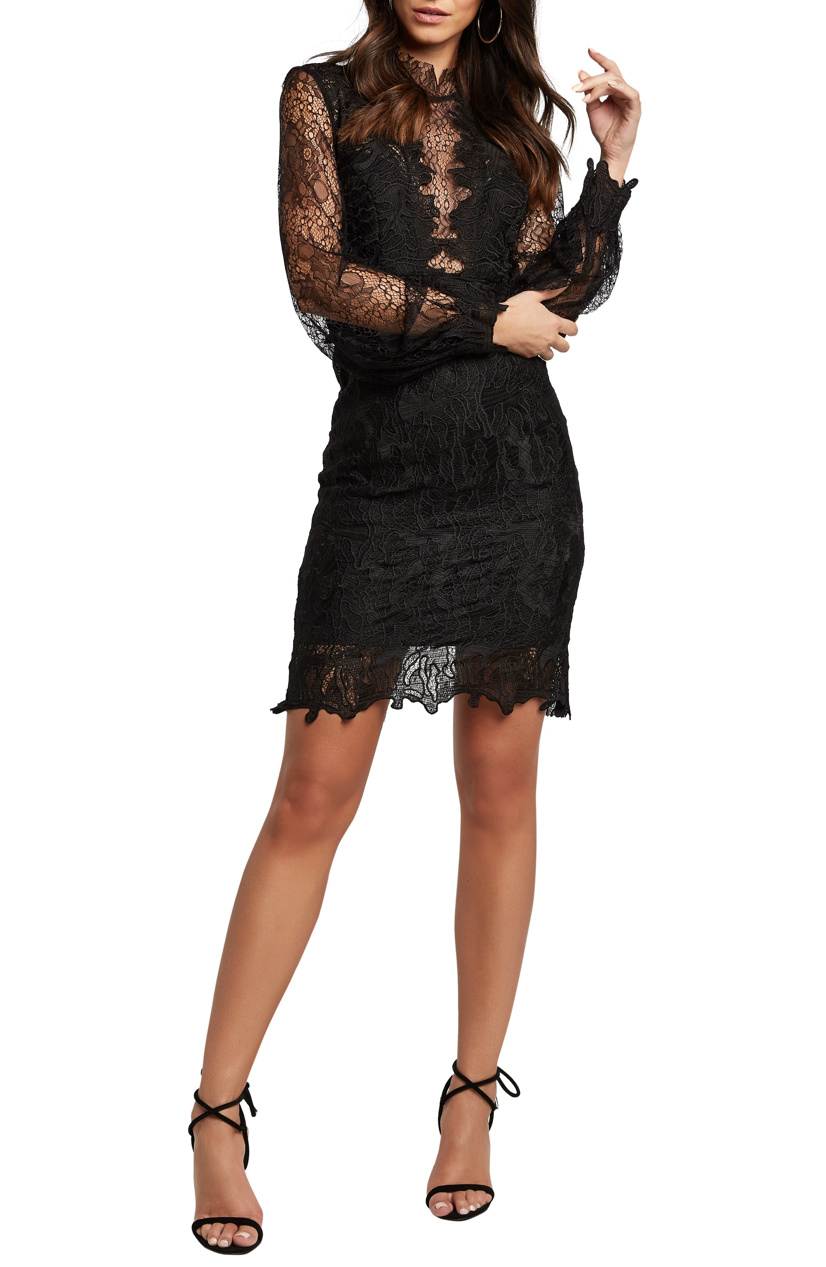 Bardot Clarissa Long Sleeve Lace Cocktail Dress, Black