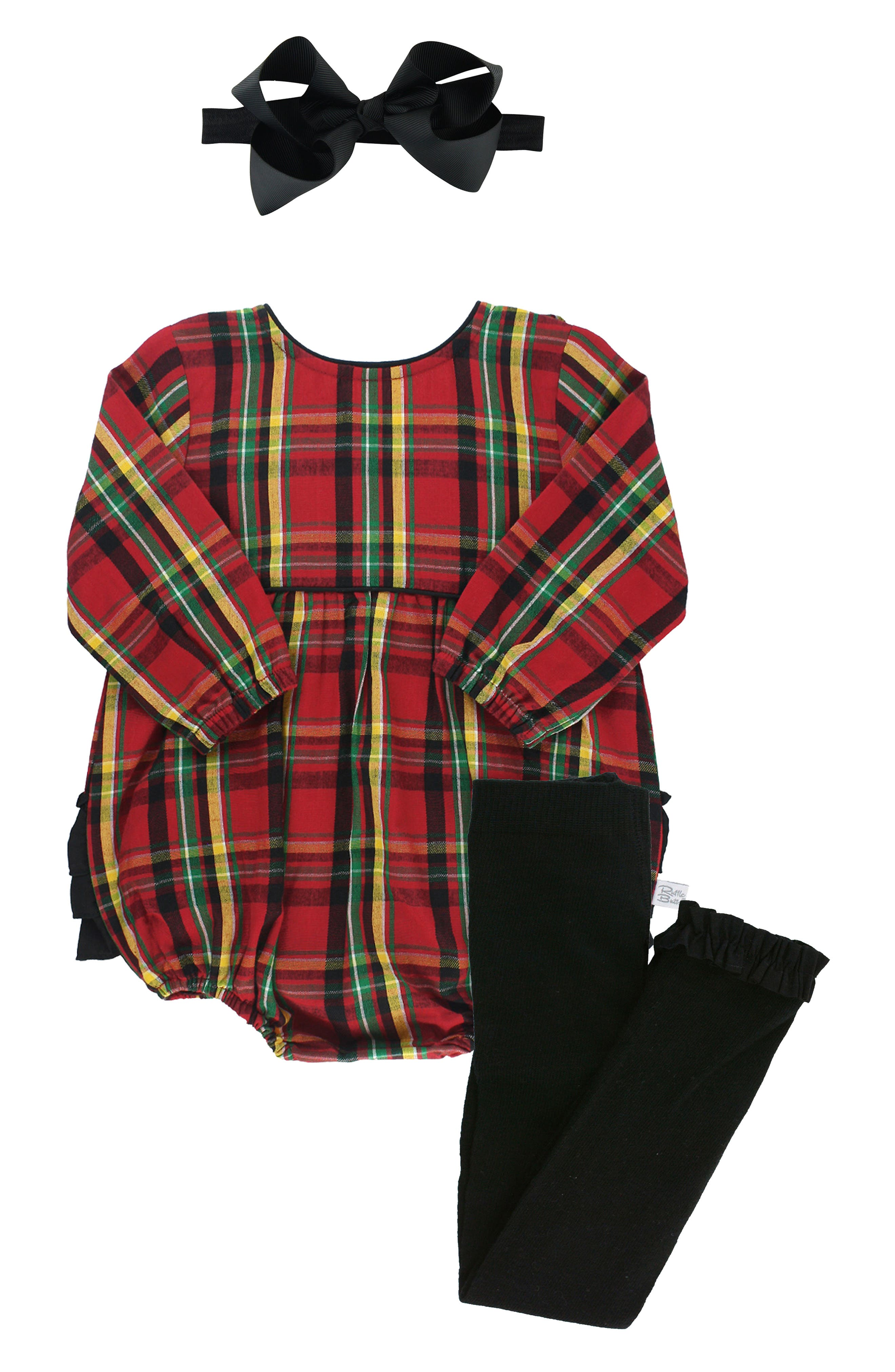Your little one will be ready for cooler days in this sweet set that pairs a ruffle-bum bubble bodysuit with ruffle-hem tights and a grosgrain-ribbon bow. Style Name: Rufflebutts Remington Plaid Bubble Bodysuit, Tights & Bow Set (Baby). Style Number: 6095675. Available in stores.