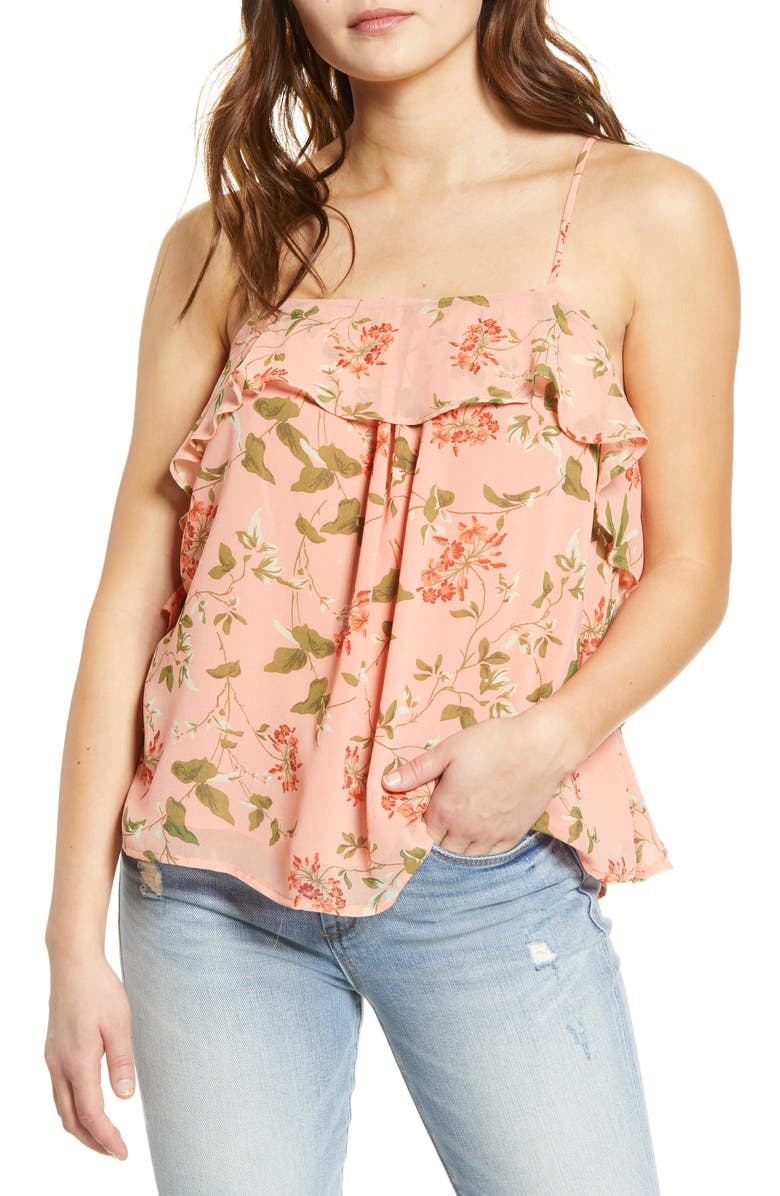 ENDLESS ROSE Coral Pink Vine Camisole, Main, color, CORAL PINK VINE