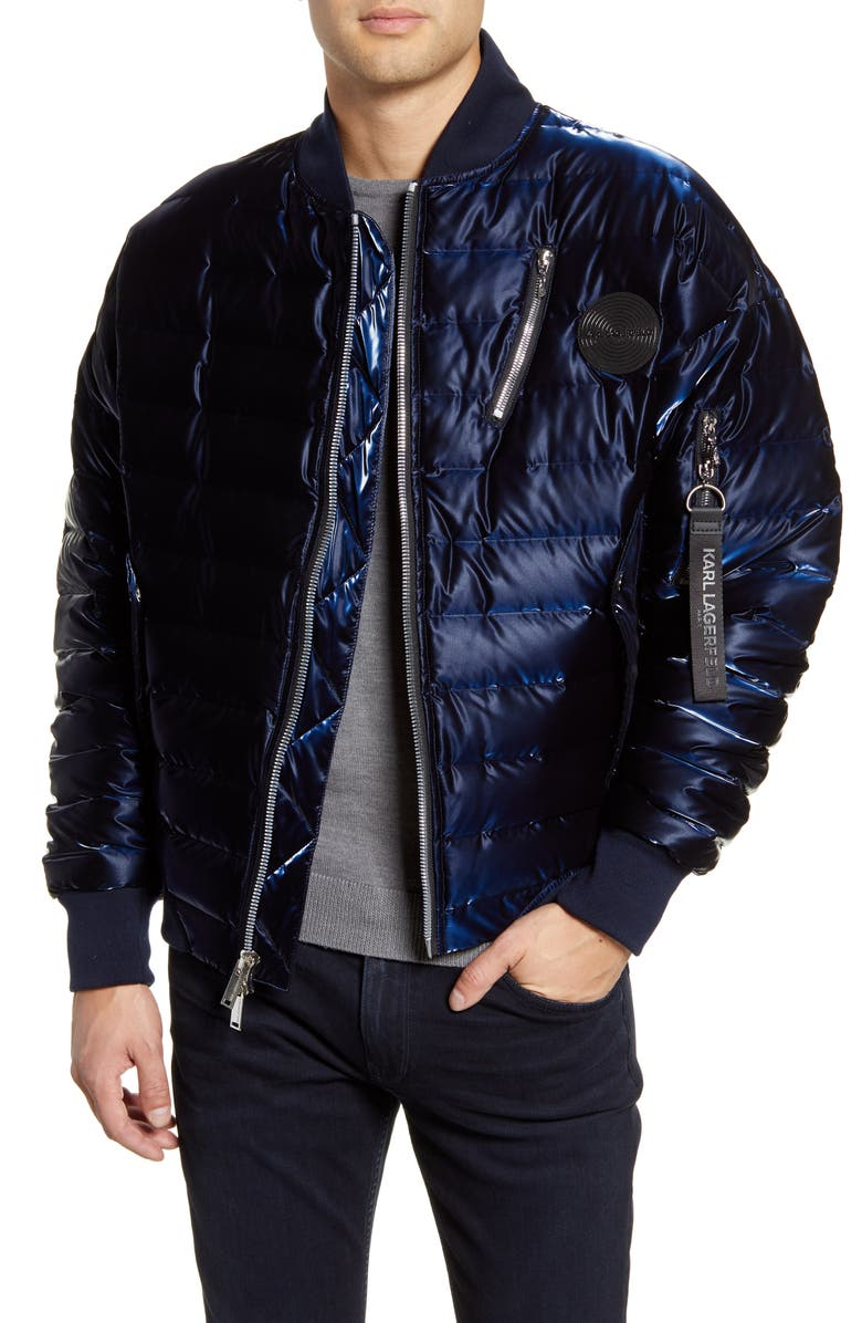 KARL LAGERFELD PARIS Gloss Down Bomber Jacket, Main, color, NAVY