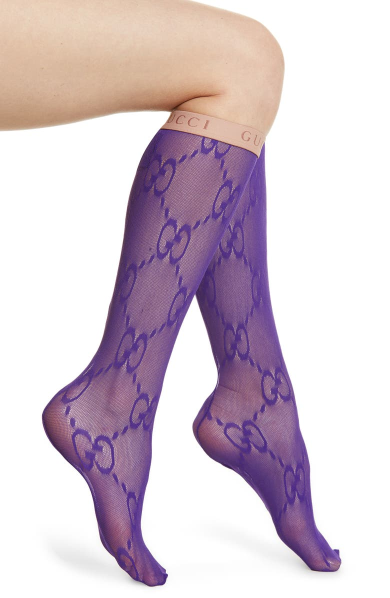 GUCCI Double G Logo Knee High Socks, Main, color, PURPLE