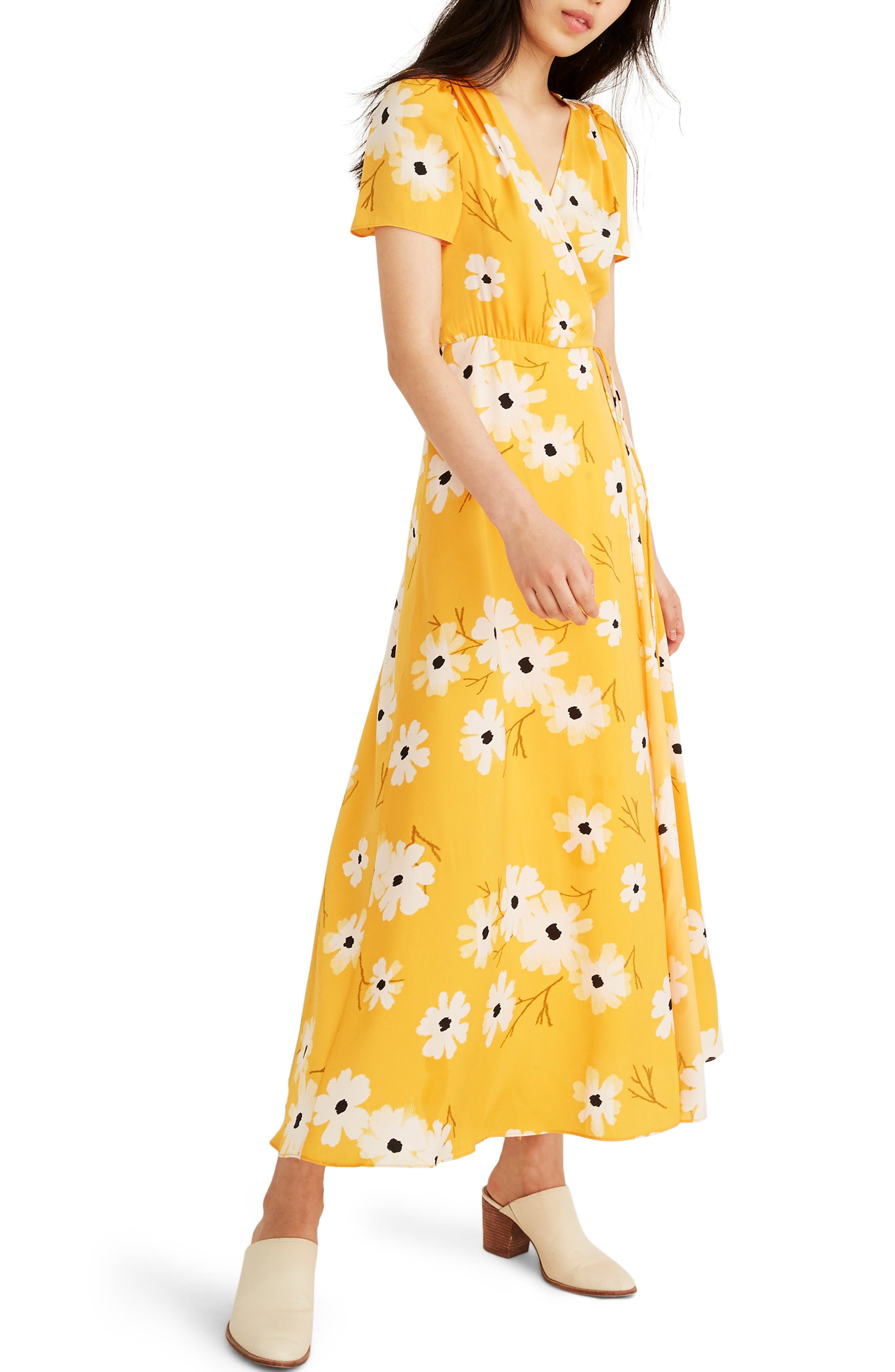 Madewell Ikat Floral Puff Sleeve Wrap Dress, Yellow