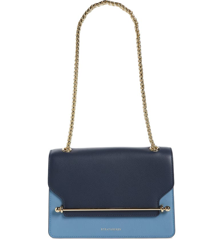 STRATHBERRY East/West Tricolor Calfskin Leather Crossbody Bag, Main, color, NAVY/ILLUSION BLUE/ALICE BLUE