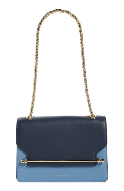 Strathberry East/west Tricolor Calfskin Leather Crossbody Bag In Navy/illusion Blue/alice Blue