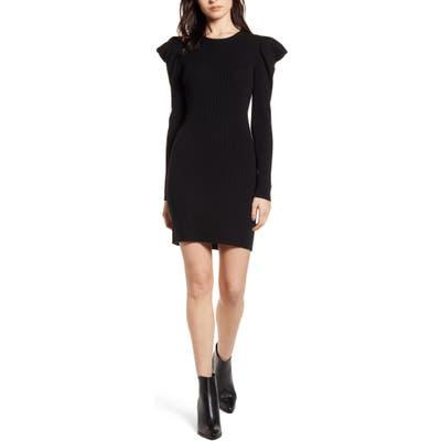 Splendid Allston Long Sleeve Minidress, Black