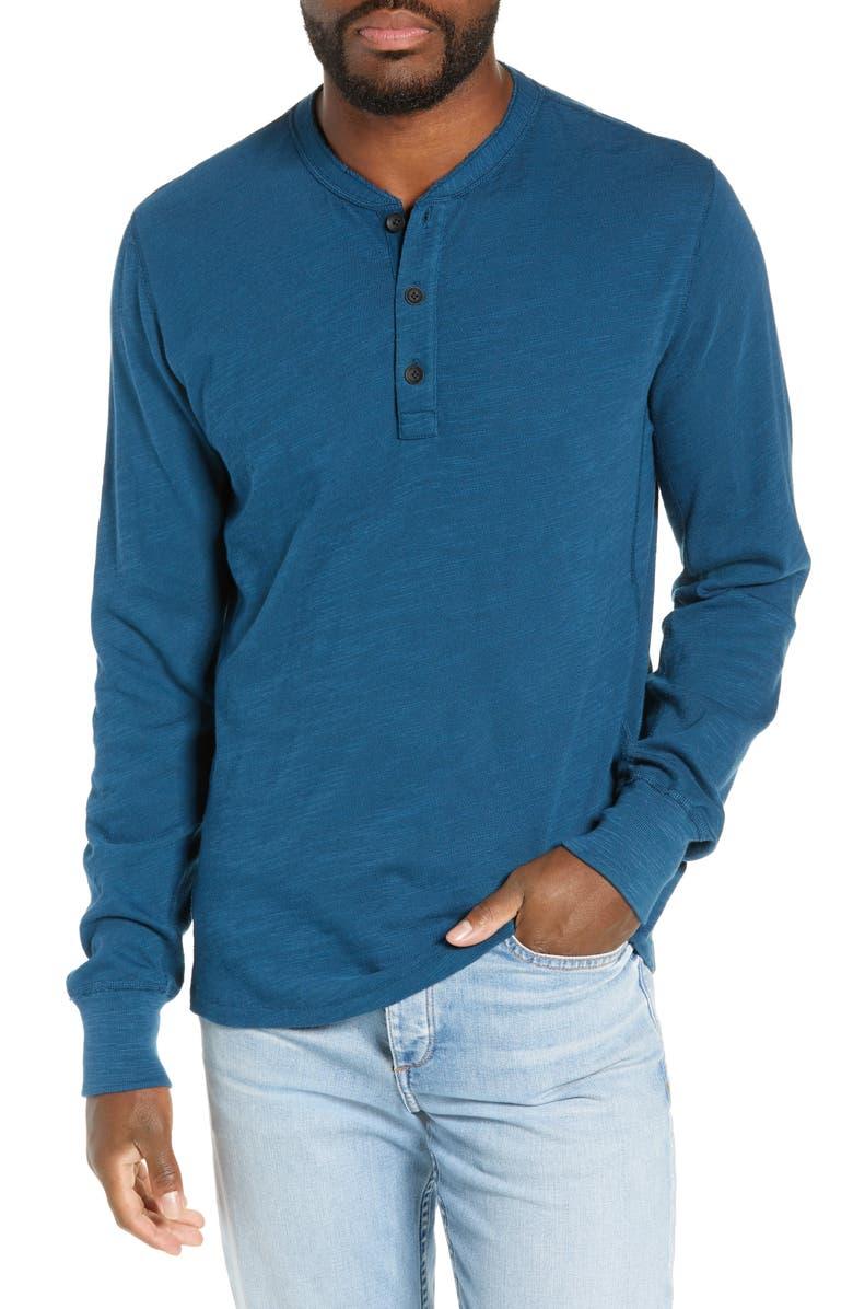 RAG & BONE Slub Cotton Slim Fit Henley, Main, color, STONE BLUE