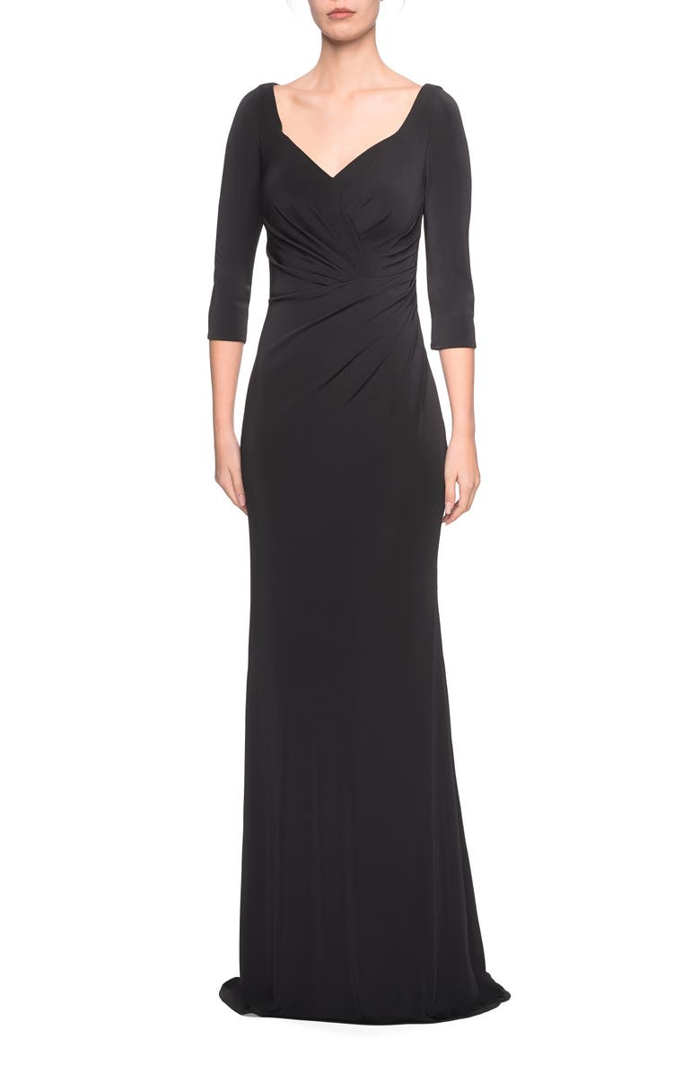LA FEMME Ruched Jersey Column Gown, Main, color, BLACK