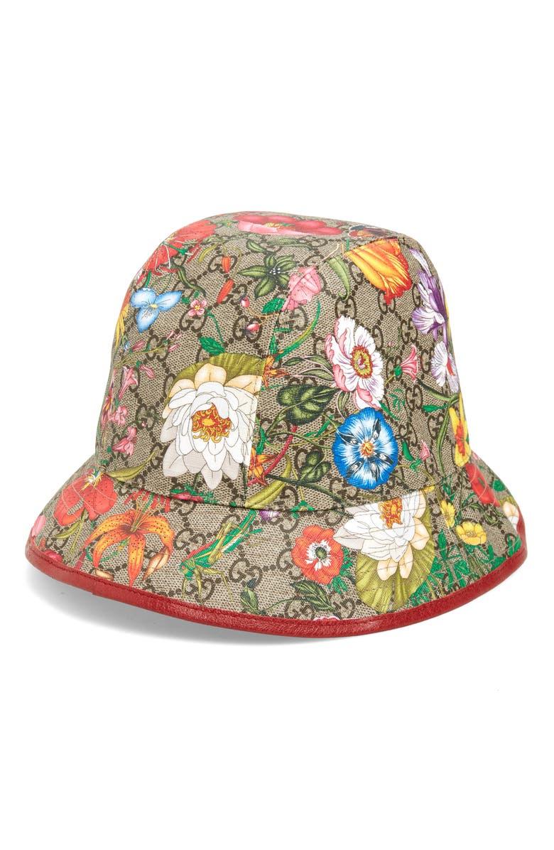 GUCCI Claudia Flora Print GG Supreme Canvas Bucket Hat, Main, color, 250