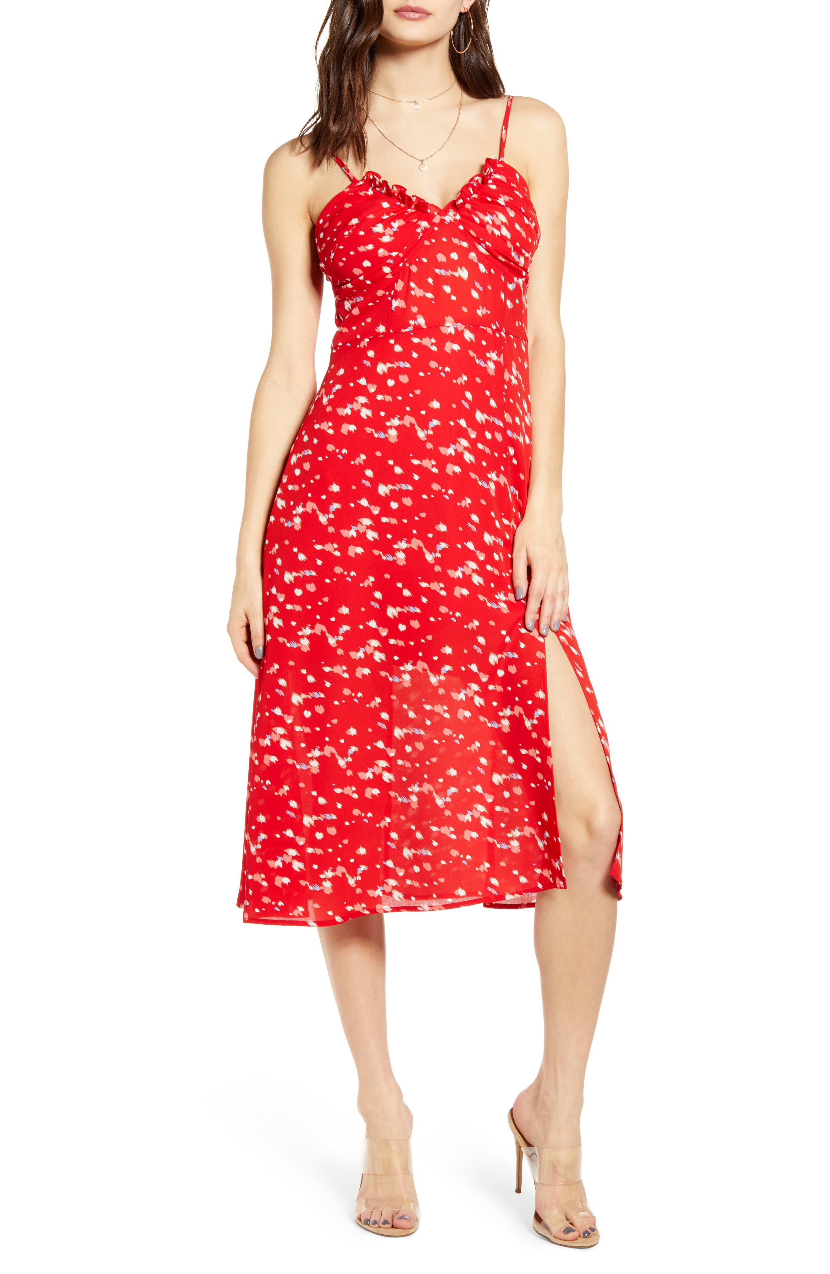 Row A Shirred Bustier Bodice Sundress, Red