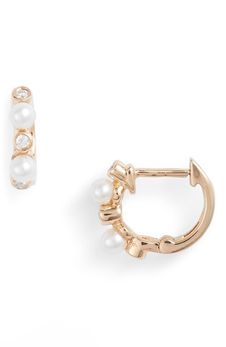 DANA REBECCA DESIGNS Pearl Ivy Diamond Huggie Hoop Earrings, Main, color, YELLOW GOLD/ PEARL/ DIAMOND