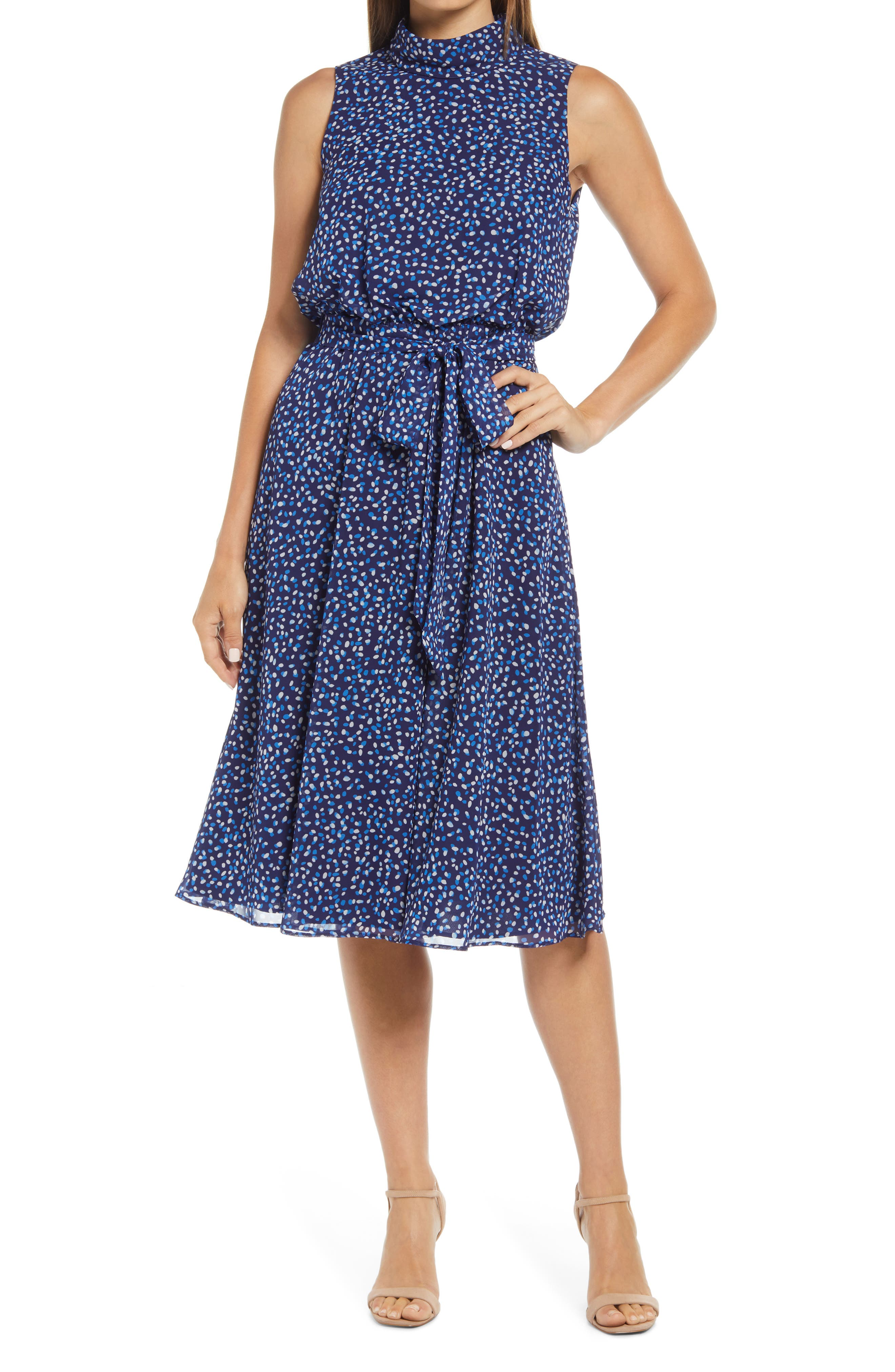Dot Print Sleeveless Midi Dress