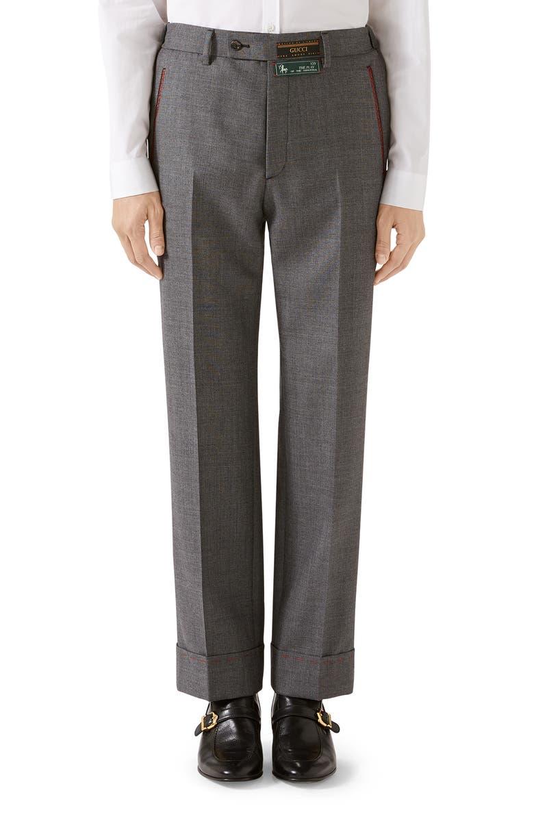 GUCCI Stitch Detail Wool Sharkskin Dress Pants, Main, color, DARK GREY