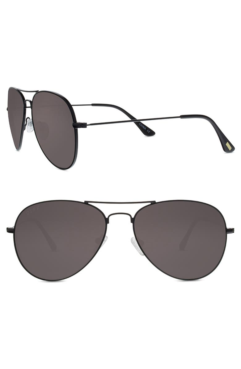 DIFF Cruz 43mm Aviator Sunglasses, Main, color, BLACK/ GREY