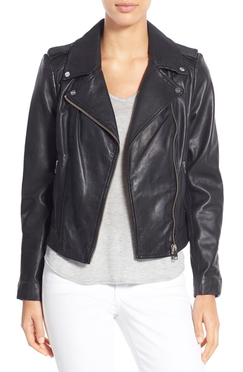 LAMARQUE Donna Lambskin Leather Moto Jacket, Main, color, BLACK