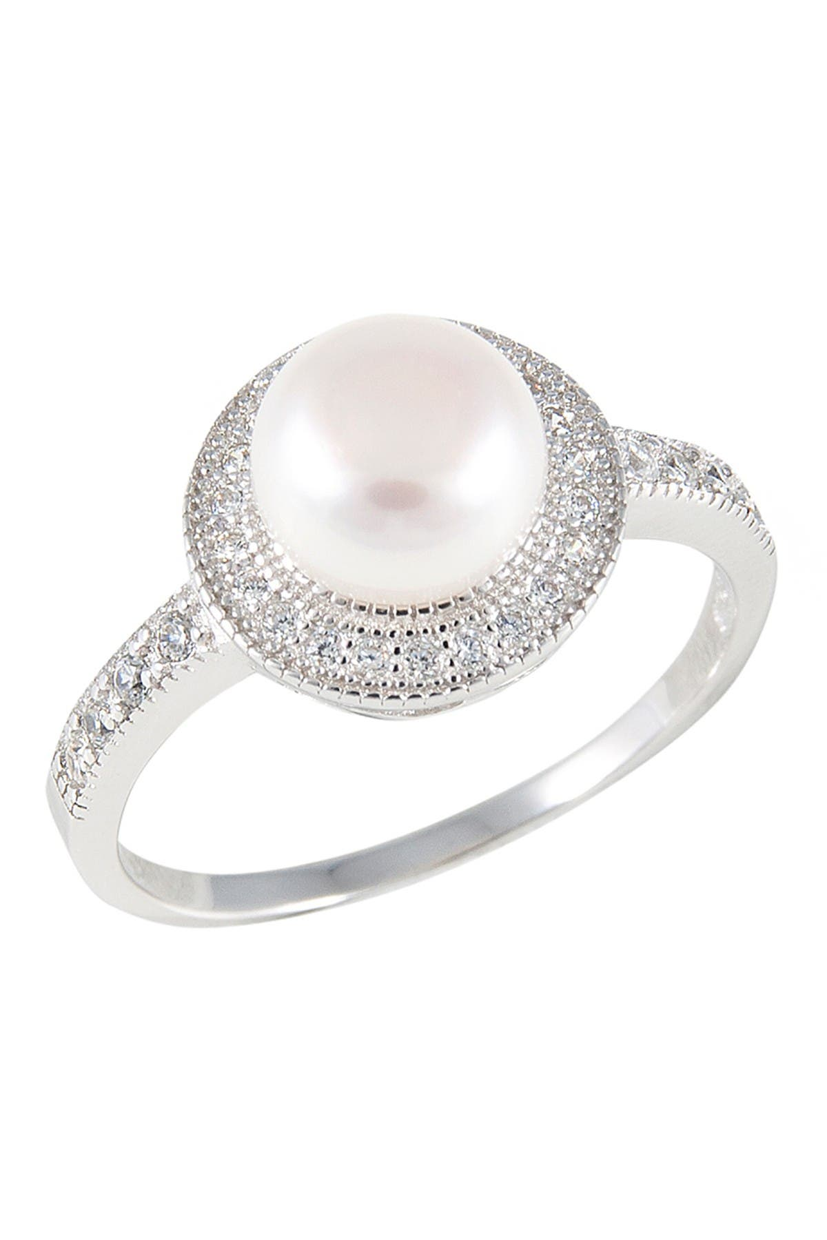 Image of Splendid Pearls 8-9mm Natural White Cultured Freshwater Pearl & CZ Ring