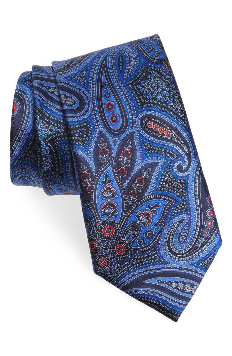 ERMENEGILDO ZEGNA Paisley Silk Tie, Main, color, BLUE FAN