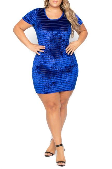 Image of Curvy Sense Crushed Velvet Striped Short Sleeve Dress