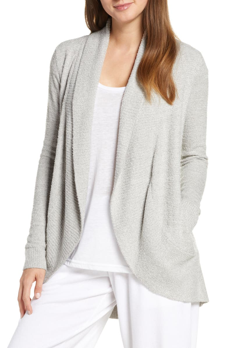 BAREFOOT DREAMS<SUP>®</SUP> CozyChic<sup>™</sup> Lite Circle Cardigan, Main, color, HE PEWTER/ PEARL