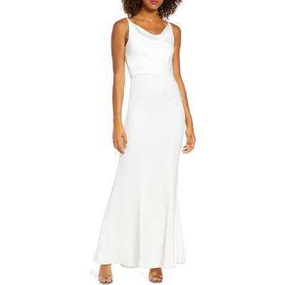 Chi Chi London Mariam Cowl Neck Satin Trumpet Gown, White