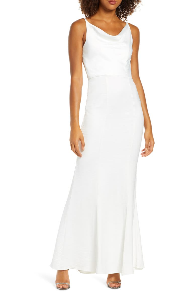 CHI CHI LONDON Mariam Cowl Neck Satin Trumpet Gown, Main, color, WHITE