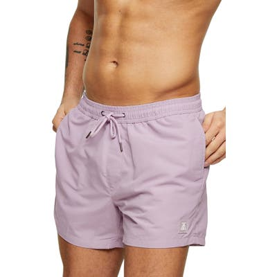 Topman Hester Solid Swim Trunks, Purple