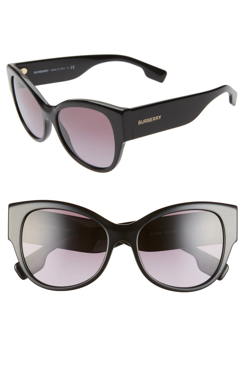 BURBERRY 54mm Butterfly Sunglasses, Main, color, BLACK/ BLACK GRADIENT