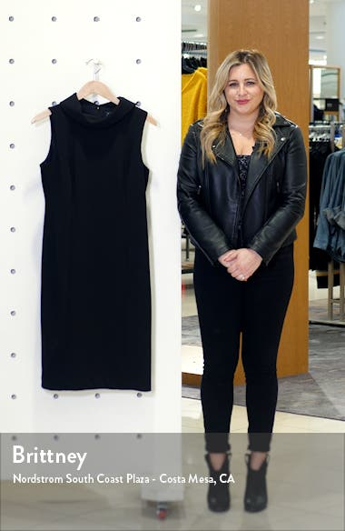 Wraparound Collar Stretch Crepe Sheath Dress, sales video thumbnail