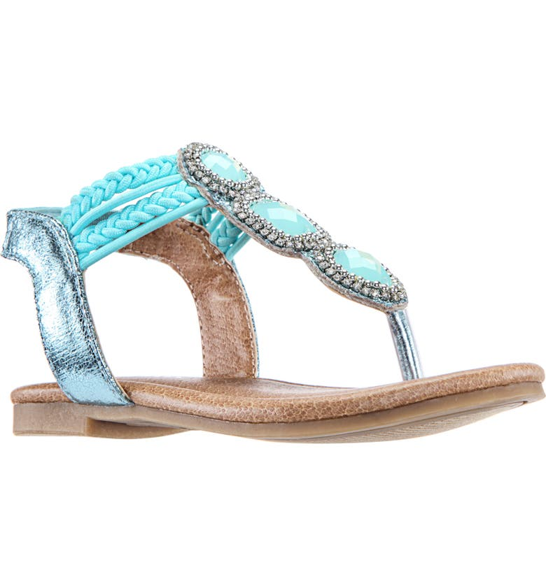 NINA 'Constance' Flower Sandal, Main, color, AQUA METALLIC