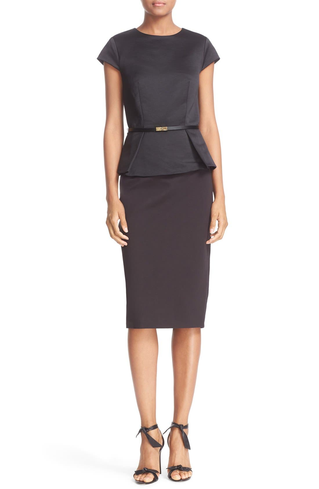 ,                             Belted Mock Two-Piece Peplum Body-Con Dress,                             Main thumbnail 1, color,                             001