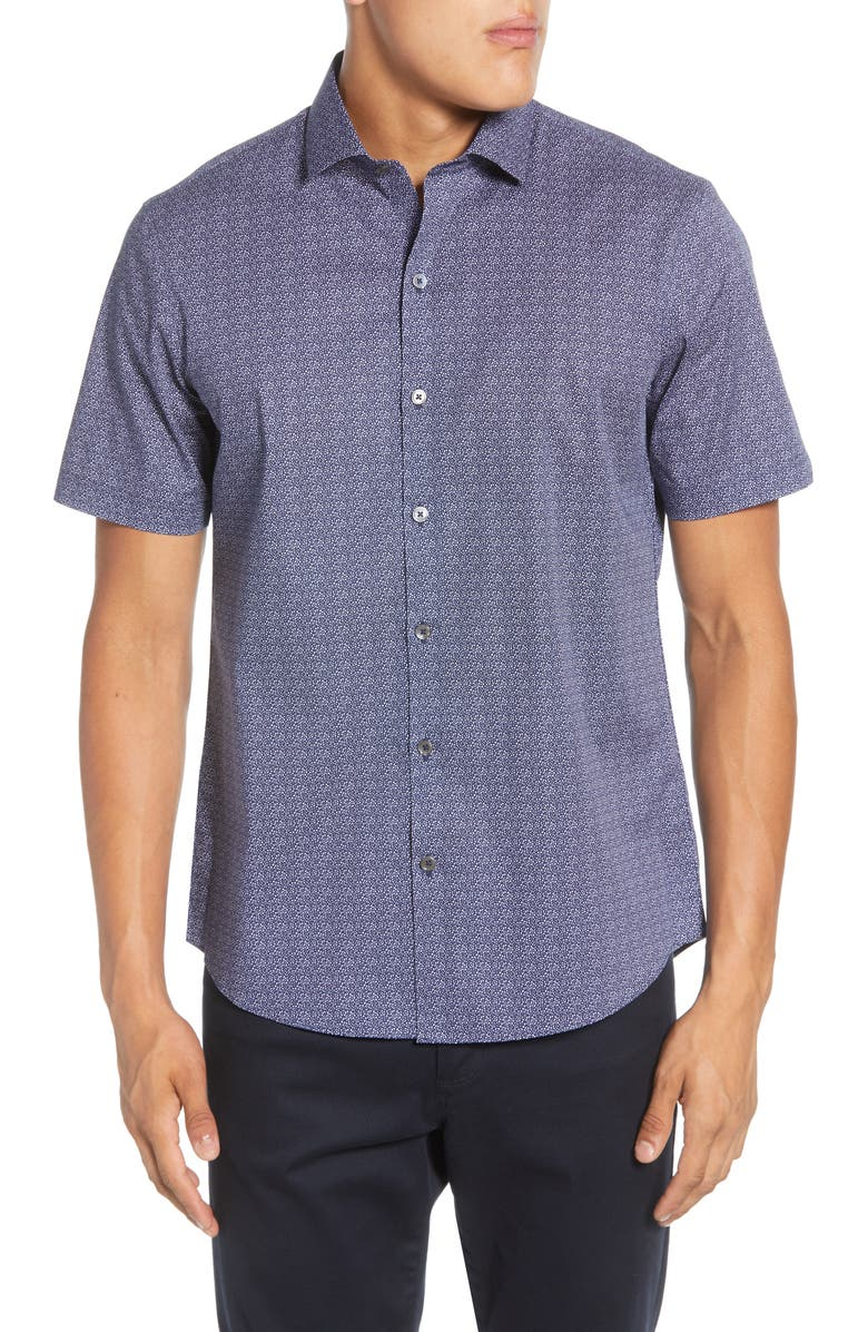ZACHARY PRELL Papazis Regular Fit Short Sleeve Button-Up Stretch Cotton Shirt, Main, color, NAVY