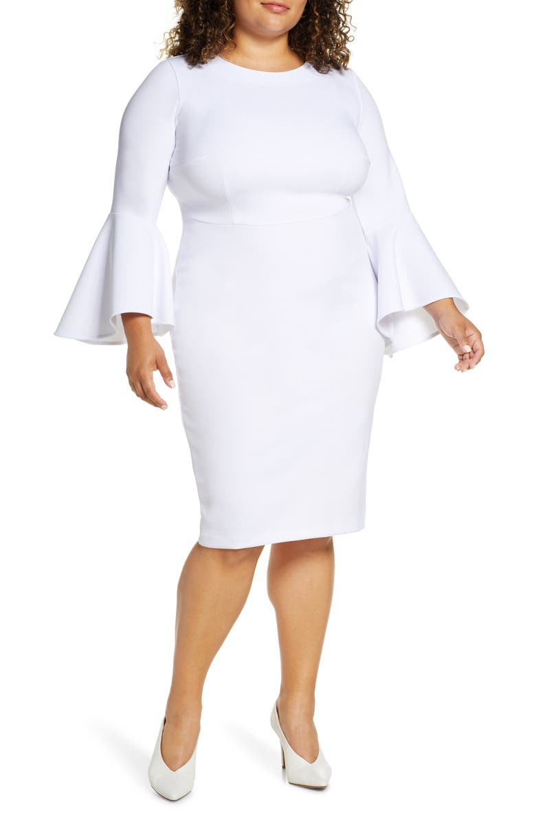 ELOQUII Flare Long Sleeve Scuba Sheath Dress, Main, color, WHITE