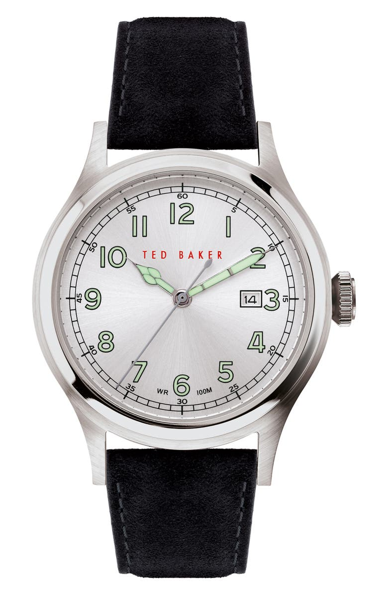 TED BAKER LONDON Lngisla Leather Strap Watch, 42mm, Main, color, 001