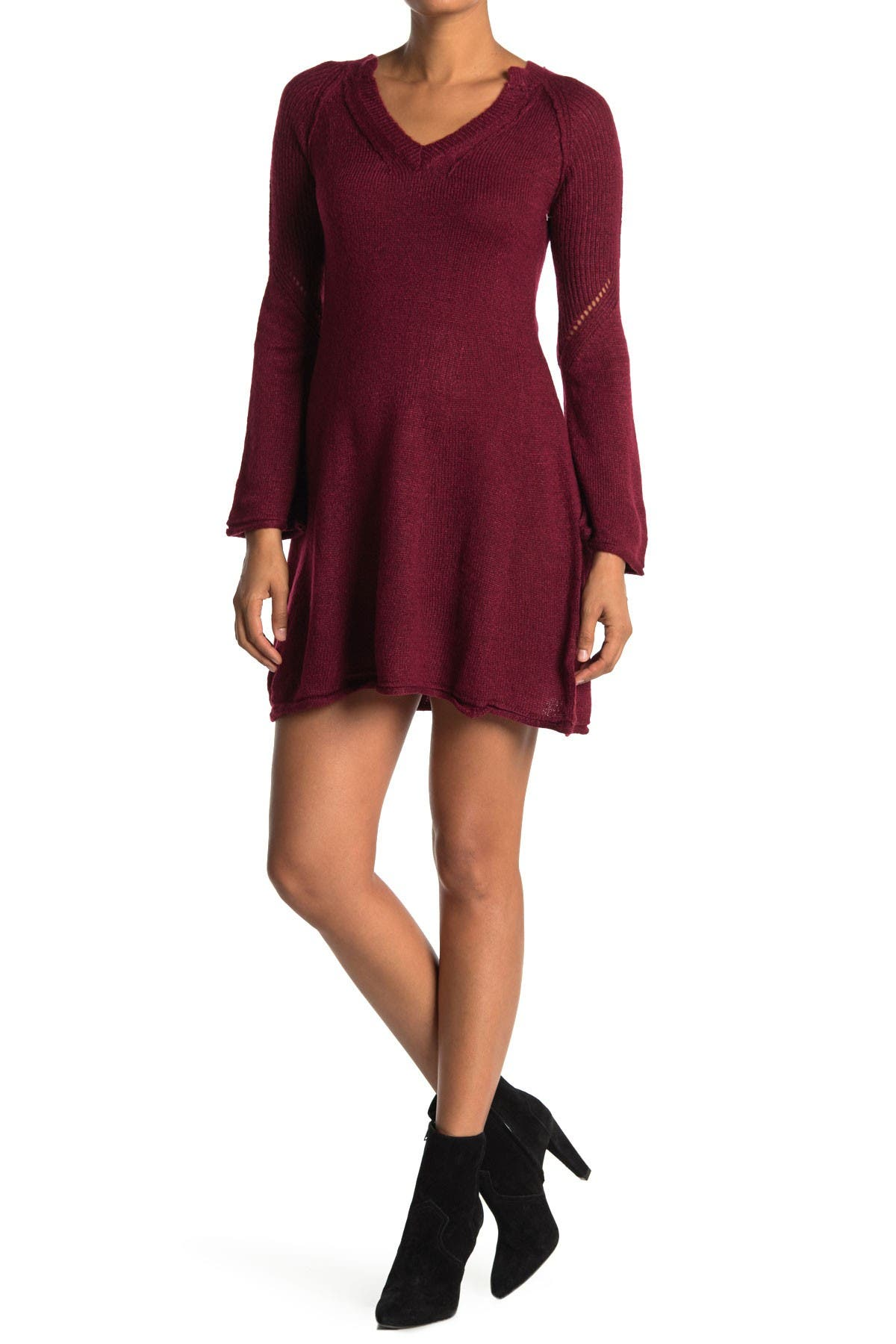 Image of Angie Bell Sleeve V-Neck Sweater Dress