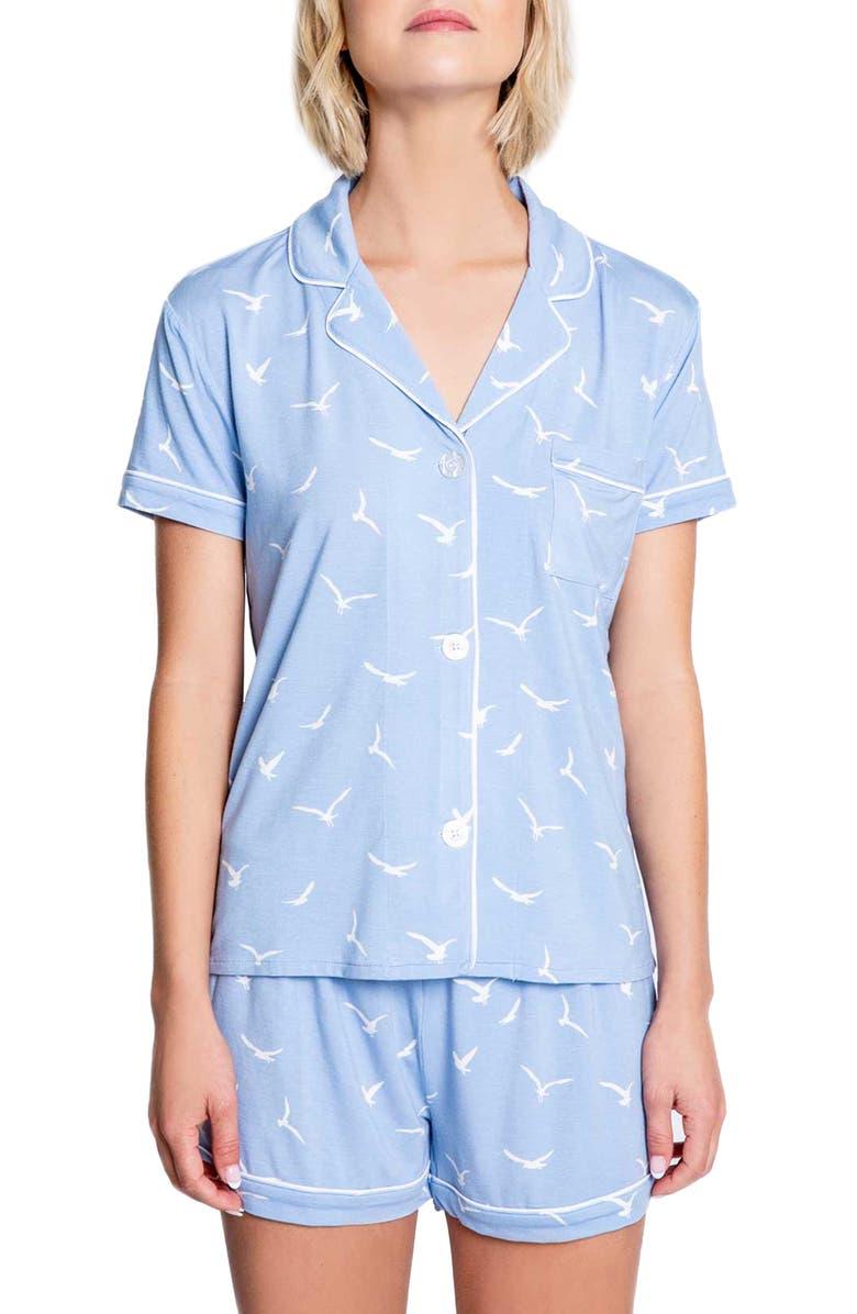 PJ SALVAGE In Flight Bird Print Short Pajamas, Main, color, BLUE MIST
